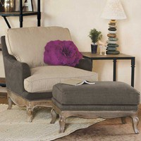 Eco Upholstered Chair and Ottoman - Furniture - VivaTerra