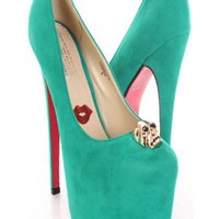 Green Faux Suede Skull Charm Platform Pump Heels @ Amiclubwear Heel Shoes online store sales:Stiletto Heel Shoes,High Heel Pumps,Womens High Heel Shoes,Prom Shoes,Summer Shoes,Spring Shoes,Spool Heel,Womens Dress Shoes,Prom Heels,Prom Pumps,High Heel Sand