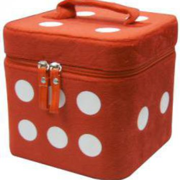 ROCKWORLDEAST - Cosmetic Case, Makeup Case, Red Fuzzy Dice
