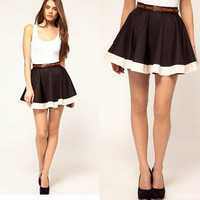 Women Black Pleated Shaped Sweet Cute Causal Slim Mini Short Skirt X299 Size S M