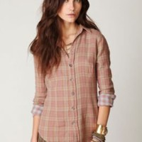 CP Shades Plaid Button Down with Gingham Top at Free People Clothing Boutique