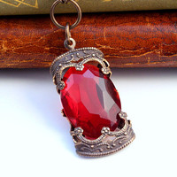 Ruby Stained Glass Window - Czech Revival Vintage Glass Necklace
