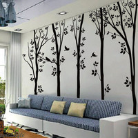 5 Birches Tree With Flying Birds Wall Sticker – WallStickerDeal.com
