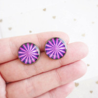 Purple stripes stud earrings