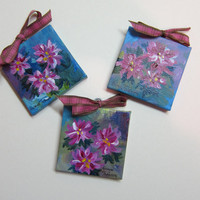 Acrylic Christmas 3x3 inch Mini Canvas Ornaments (3) - set handmade floral paintings watercolorsNmore