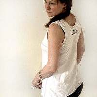 White hand stitched tunic/tank top with transparent touch. Special feeling and look.