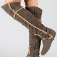 Bamboo Tiktok-15 Shearling Thigh High Boot