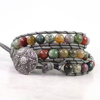 Multicolor Gemstone Wrap Bracelet Gray Leather Winter Fashion Boho Style Triple Wrap Green Red Fancy Jasper