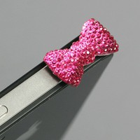 ZuGadgets Magenta / Earphone jack accessory / Bow Dust Plug / Ear Cap / Ear Jack For iPhone / iPad /