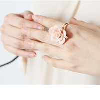 Fashion Pink Rose Flower Ring