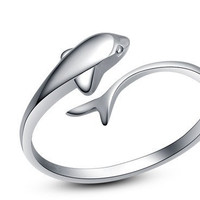 Adjustable Dolphin Silver Ring