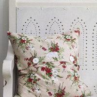 Pale and Interesting - Vintage Red Sprig Cushion Cover