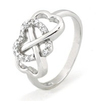 Sterling Silver Heart Infinity Ring w/ Cubic Zirconia (Size 8) Available Size: 5, 5.5, 6, 6.5, 7, 7.