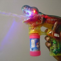 DH Educational Products - Dinosaur Bubble Gun with Flashing Lights and Dinosaur Sound - Shoots endle
