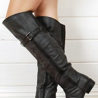 Diva Lounge Riccai02 Black Side Zipper Thigh Boots shop Boots at MakeMeChic.com