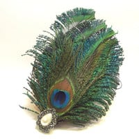 Barrette, Peacock Feather and Button, Womans Hair Accessory, Wedding, Prom, New Years Eve
