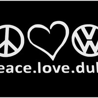 Volkswagen Decal Peace Love Dub Car Window Decal by VillageVinyl