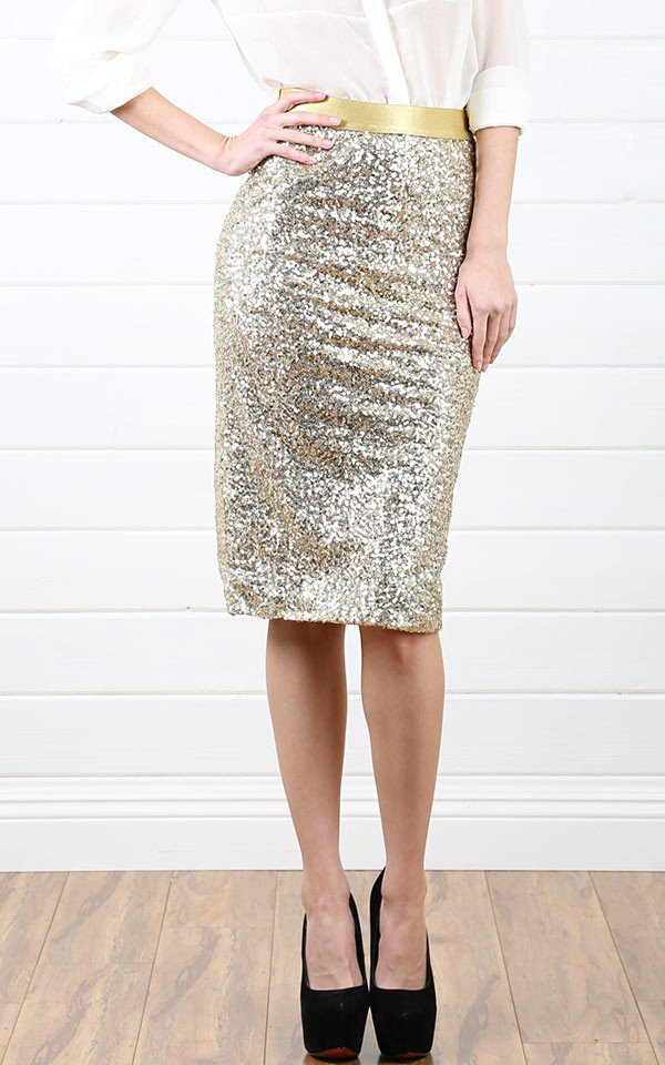 gold sparkly sequin pencil skirt from make me chic epic