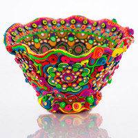 Colorful Magical Ceramic Bowl Transformed by Clay Mosaic, &quot;Wonderland&quot; - CUSTOM ORDER