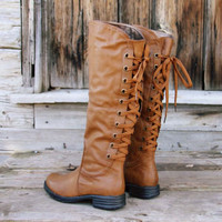 Winthrop Lace Back Boots in Cognac, Rugged Boots &amp; Shoes