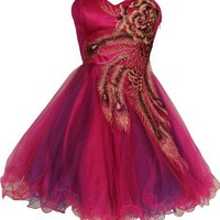 Metallic Peacock Embroidered Holiday Party Prom Dress Junior Plus Size, Size: Medium, Color: Fuchsia