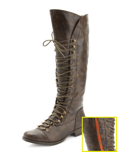 Charlotte Russe - Exposed-Zip Lace Up Boot