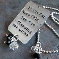 Hand Stamped Necklace with Quirky Saying by FiredUpLadiesHammer