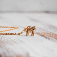 Tiny Dala HORSE Charm Necklace Swedish HORSE Tiny Toy Golden