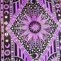 Tapestry ~ Purple Burning Sun Tapestry ~ Appx 82x54