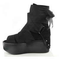 Black Suede Korean Fashion Fish Mouth Wedges : Wholesaleclothing4u.com