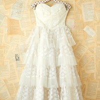 Free People Vintage White Lace and Tulle Dress