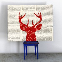 Deer Wall Art on Text, Antler Wall Art, Animal Silhouette, Deer Head Silhouette, Deer Head with Antlers in Red in Vintage Book Pages