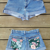 HIGH WAISTED Floral Pocket Shorts