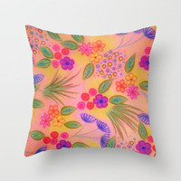 WILDFLOWER FANCY 2 - Cheerful Pink Lovely Floral Garden Pattern Girly Feminine Trendy Flowers Throw Pillow by EbiEmporium | Society6