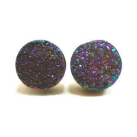 Rainbow Flame Druzy Stud Earrings n22 by AstralEYE on Etsy