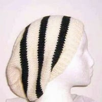 Slouch Beanie wool White Black Stripe Hat wool Beret size large 4503