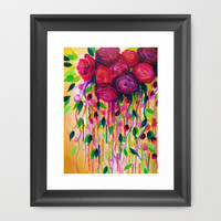 ROSES ARE RAD - Bold Fun Red Roses Floral Bouquet Vines, Flowers Abstract Acrylic Painting Fine Art Framed Art Print by EbiEmporium | Society6