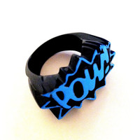 pow sky blue &amp; black metal 10 men ladies unisex ring by albalopez