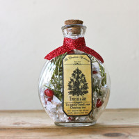Christmas Tree in a Jar Decorative Christmas Apothecary Bottle