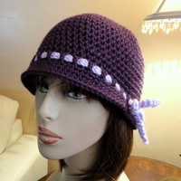 Purple Flapper Crocheted Hat Pre Teens to Ladies Handmade
