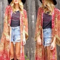 Vtg 70s Gypsy Burnout Watercolor Boho Kimono Duster Robe Jacket One size