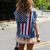 Bad Girls Club  Distressed Americana Studded Vest