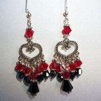 Red and Black Heart Earrings