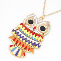Wholesale Lovely Big Multi Color owl Pendant Necklace,small mix order accepted.