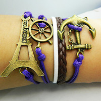 Unisex Simple fashion ancient bronze anchor ,rudder and Eiffel Tower leather bracelet--blue-brown and white wax rope braided bracelet