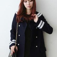 Vintage Double Breasted Wool Coat Navy