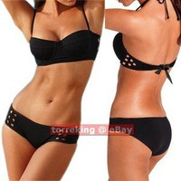 Sexy Women Thick Padded Halter Push Up Bandeau Bikini 2pcs Set Swimwear Swimsuit