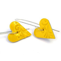 Heart polymer clay earrings yellow hoops jewelry by JPwithLove