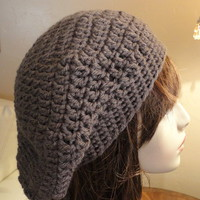 Warm Brown Slouch Hat Handmade Crocheted Girls Teens Ladies Warm Thick