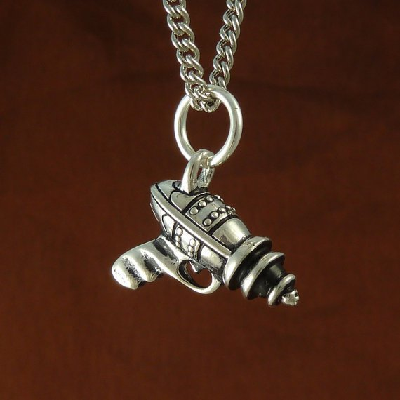 Ray Gun Raygun Necklace in Antique Silver on 18 by LostApostle
